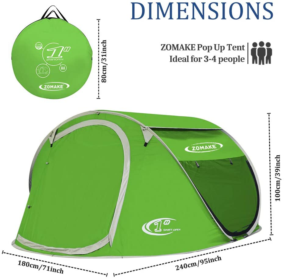 ZOMAKE 4 Person Pop Up Tent,